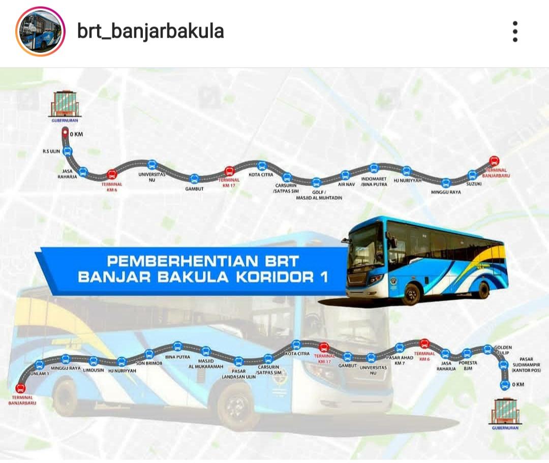 JADWAL BUS BRT BANJARBAKULA BANJARMASIN & BANJARBARU